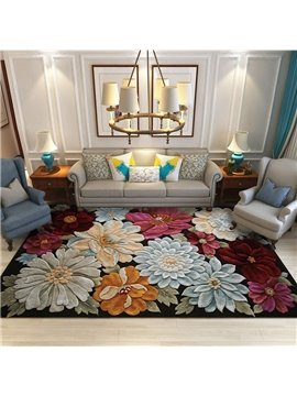 Floral Area Rugs 3D Non-Slip Stain Resistant Machine Washable Indoor/Outdoor Floral Area Rug