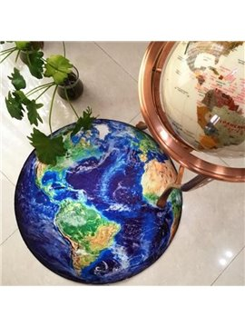 Non-Slip Area Rugs Round Floor Mat Earth Print For Kids Living Playing room Beadroom Home Decor