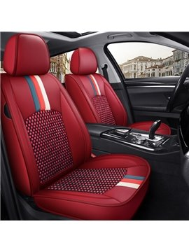 Wear-resistant Leather and Breathable Ice Silk Material Universal Fit Seat Covers Suitable for Most 5 Seats Cars and Pickup Trucks