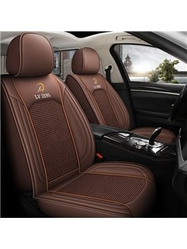 Wear-resistant Leather and Breathable Ice Silk Material 5 Seats Universal Fit Seat Covers Suitable for Most 5 Seats Cars and Pickup Trucks