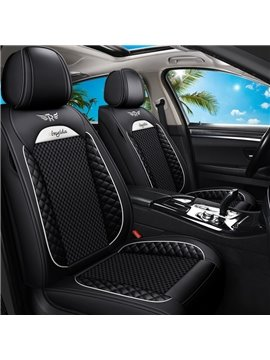 5 Seats Breathable and Cool Ice Silk and Wear-resistant Leather Material Suitable for Most Cars or Pickup Trucks Universal Fit Seat Covers