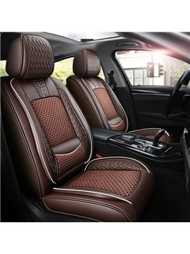Breathable and Cool Ice Silk and Wear-resistant Leather Material Suitable for Most 5-seater Cars or Pickup Trucks Universal Fit Seat Covers