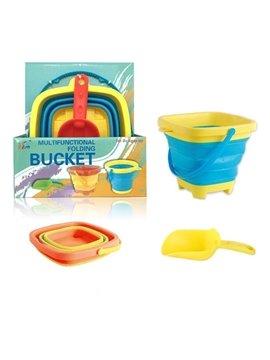 Soft Plastic Folding Bucket Children's Toys Portable Bucket Summer Beach Toys Multifunctional Telescopic Bucket
