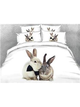 3D Print 4 Pcs Bedding Sets Cute Rabbit Duvet Cover Set Comforter Cover with Zipper Closure and Corner Ties 2 Pillowcases 1 Flat Sheet 1 Duvet Cover High-Quality Microfiber Polyester
