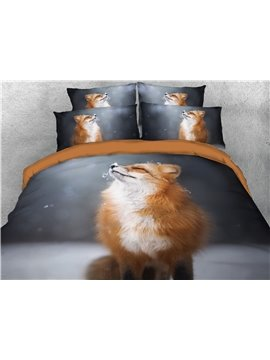 4-Piece Duvet Cover Set Fox Animal Bedding Set Ultra Soft Comforter Cover with Zipper Closure and Corner Ties 2 Pillowcases 1 Flat Sheet 1 Duvet Cover Polyester