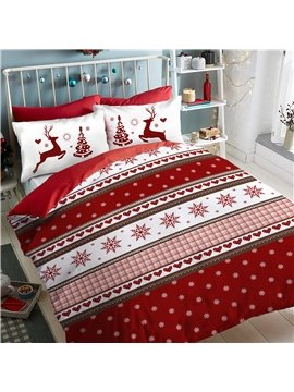 4 PCS Duvet Cover Set Christmas Bedding/Gift Comforter Cover with Zipper Closure and Corner Ties 2 Pillowcases 1 Flat Sheet 1 Duvet Cover Polyester