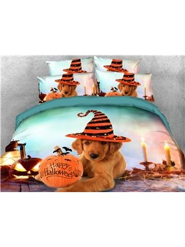 3D Halloween Pumpkin Animal Print Bedding 4 Pcs Duvet Cover Set Dog and Cat Ultra Soft Comforter Cover with Zipper Closure and Corner Ties 2 Pillowcases 1 Flat Sheet 1 Duvet Cover Polyester