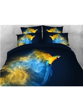 4-Piece Bedding Set 3D Multicolor Parrot Animal Print Duvet Cover Set Ultra Soft Polyester Comforter Cover with Zipper Closure and Corner Ties 2 Pillowcases 1 Flat Sheet 1 Duvet Cover