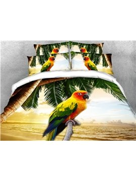 3D Bedding Set Multicolor Parrot Animal / Scenery Print 4-Piece Duvet Cover Set Ultra Soft Polyester Comforter Cover with Zipper Closure and Corner Ties 2 Pillowcases 1 Flat Sheet 1 Duvet Cover