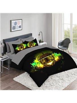5-Piece Halloween Comforter Set 3D Pumpkin Print Bedding Set 2 Pillowcases 1 Flat Sheet 1 Fitted Sheet 1 3D Comforter High-Quality Microfiber Polyester Ultra Soft Bed in a Bag