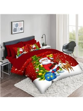 5-Piece 3D Christmas Bedding Set / Comforter Set Santa Claus Christmas Tree Reindeer 2 Pillowcases 1 Flat Sheet 1 Fitted Sheet 1 3D Comforter High-Quality Microfiber Polyester Bed in a Bag