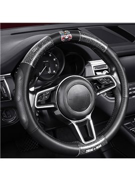 Chinese Style Breathable Steering Wheel Cover Microfiber Leather