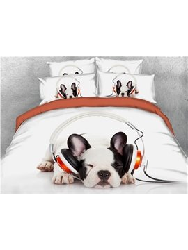 3D Dog Animal Print Bedding 4-Piece Duvet Cover Set White Ultra Soft Polyester Comforter Cover with Zipper Closure and Corner Ties 2 Pillowcases 1 Flat Sheet 1 Duvet Cover