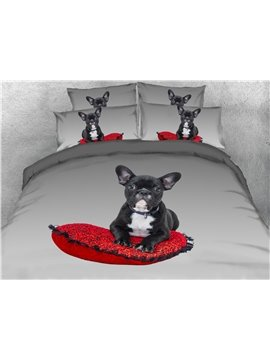 4-Piece Bedding Set 3D Dog Animal Print Duvet Cover Set Ultra Soft Polyester Comforter Cover with Zipper Closure and Corner Ties 2 Pillowcases 1 Flat Sheet 1 Duvet Cover