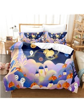 Purple Halloween Bedding Set 3-Piece Set 1 Duvet Cover 2 Pillowcases Girls Bedding