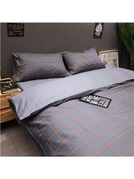 Modern 4-Piece Lattice Duvet Cover Set Cotton Bedding Set 1 Duvet Cover 1 Flat Sheet 2 Pillowcases Soft Comfortable Durable