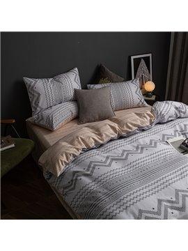 Modern Gray 4-Piece Bedding Set Duvet Cover Set Cotton 1 Duvet Cover 1 Flat Sheet 2 Pillowcases Soft Comfortable Durable