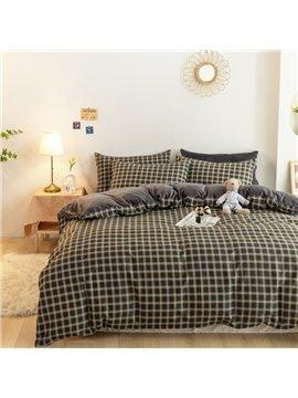 4-Piece Lattice Bedding Set Flannel Cotton Duvet Cover Set Winter