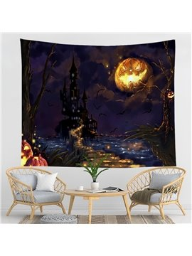 Halloween Pumkin Witch Castle Bat General Party Decorative Hanging Wall Tapestry