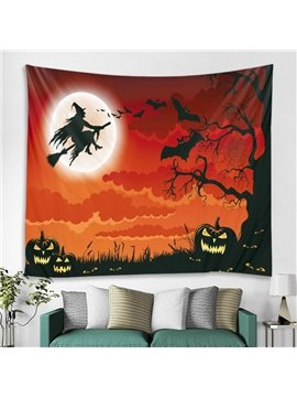 Halloween Red Pumkin Witch Bat General Party Decorative Hanging Wall Tapestry