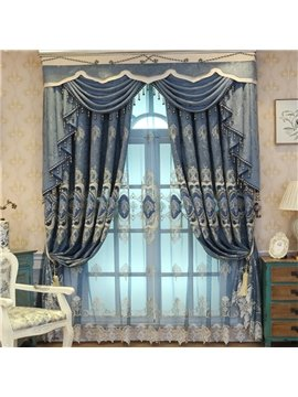 Voile Curtains Floral Embroidery Sheer Curtains Blue Coffee Noble and Elegant for Living Room Bedroom Decoration Custom 2 Panels Drapes Breathable Drapes