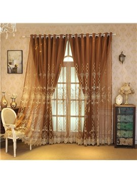 European Double Embroidered Curtain Sets Linen Sheer and Lining Blackout Curtains for Living Room Bedroom Decoration