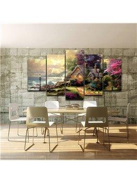 Landscape seaside Villa Pattern 5 Pieces Hanging Canvas Eco-friendly Waterproof Non-Framed Prints Wall Prints