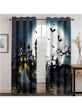Halloween Castle Creative 3D Printed Blackout Decoration Window Curtains Custom 2 Panels Drapes