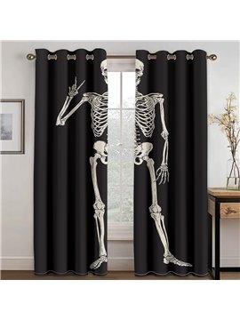 Creative Halloween Skull Black 3D Printed Blackout Decoration Window Shading Curtains Custom 2 Panels Drapes