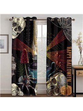 Halloween Skull  Pumkin 3D Printed Blackout Decoration Window Shading Curtains Custom 2 Panels Drapes