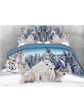 4-Piece 3D Bedding Set Wolf and Snow Animal Print Duvet Cover Set Ultra Soft Polyester Comforter Cover with Zipper Closure and Corner Ties 2 Pillowcases 1 Flat Sheet 1 Duvet Cover