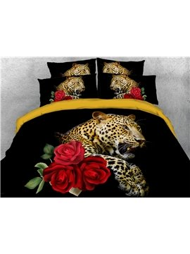 4-Piece 3D Bedding Set Leopard and Red Rose Animal Print Duvet Cover Set Ultra Soft Polyester Comforter Cover with Zipper Closure and Corner Ties 2 Pillowcases 1 Flat Sheet 1 Duvet Cover Black