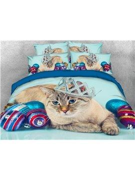 Cat Wearing a Crown 4-Piece 3D Bedding Set/Duvet Cover Set 2 Pillowcases 1 Flat Sheet 1 Duvet Cover Blue White Ultra Soft Skin-friendly Polyester