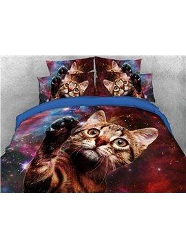 3D Galaxy Cat 4-Piece 3D Bedding Set/Duvet Cover Set 2 Pillowcases 1 Flat Sheet 1 Duvet Cover Ultra Soft Skin-friendly Polyester