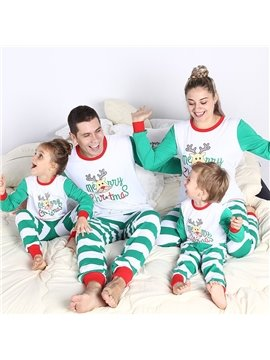 Christmas Striped Parent-child Suit Pajamas Family Outfit Suit Long Sleeve Top Trousers Green White