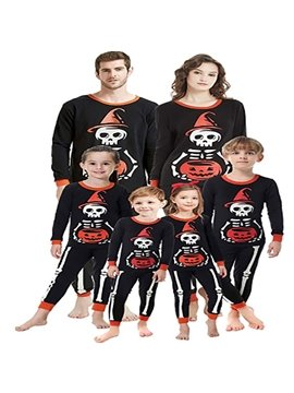 Halloween Little Ghost Print Suit Parent-child Family Outfit Suit Long Sleeve Top Trousers Black