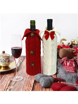 Handmade Christmas Sweater Wine Bottle Cover For Christmas Decorations  2pcs