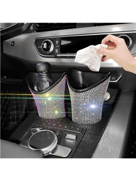 Bling Car Umbrella Storage Buckets, Mini Trash Can Box, Backseat Garbage Cans, Vehicle-Mounted Folding Umbrella Cup Holder, Headrest Hanging Organizer Storage for Articles