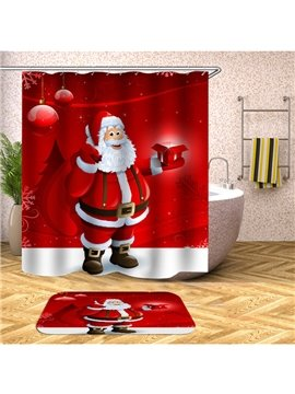Christmas Red 3D Curtains Santa Claus and Gifts Bathroom Partition Curtain Durable Waterproof Mildew Proof Polyester
