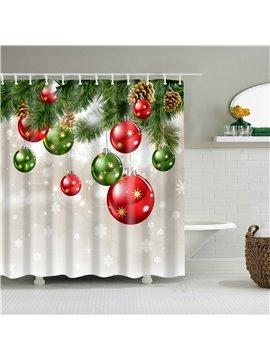 3D Christmas Shower Curtains Christmas Pine Tree and Bell for Bathroom Christmas Shower Curtain Christmas Theme Shower Curtain