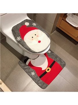 Santa Claus Two-Piece Toilet Seat Covers Set Christmas Decoration Floor Mat Toilet Cover Flannel PVC Soft and Anti-slid