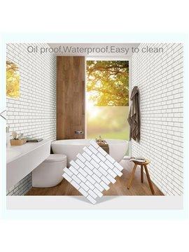 White 3D Tile Brick Wall Stickers Self-adhesive Waterproof Foam Panel Wallpaper for Bedroom Living Room Bathroom Kitchen