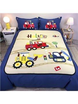 Cartoon Racing Car 4-Piece Bedding Set/Duvet Cover Set Blue Cotton Soft Skin-friendly Gift for Boys Bedroom