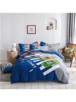 Cartoon Racing Car 4-Piece Bedding Set/Duvet Cover Set Soft Skin-friendly Cotton Bedding for Boys Bedroom Twin Queen King Size Blue