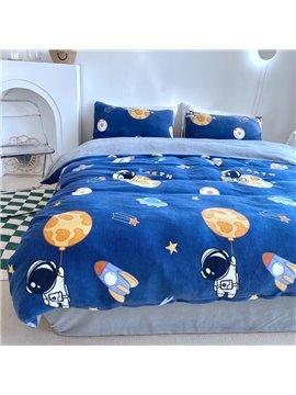 Cartoon Astronaut 4-Piece Shaggy Bedding Set/Duvet Cover Set Soft Skin-friendly Fuzzy Bedding for Boys Bedroom Twin Queen King Size Blue