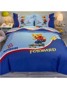 Skateboard Bear 4-Piece Bedding Set/Duvet Cover Set Blue Cartoon Cotton Soft Skin-friendly Gift for Boys Bedroom Twin Queen King Size