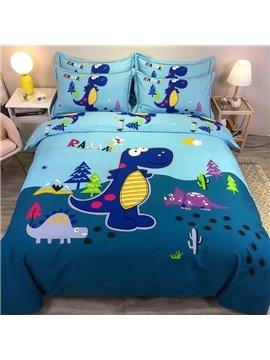 4-Piece Bedding Set Cartoon Dinosaur Duvet Cover Set Blue Cotton Soft Skin-friendly Gift for Boys Bedroom Twin Queen King Size