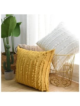 Modern Throw Pillow Sofa Cushion Cotton and Linen Fringed Solid Color Waist Pillow