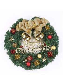 Christmas Wreath Merry Christmas Front Door Ornament Wall Artificial Pine Garland for Xmas Party Decoration 30CM