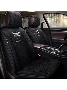 Color Block Plush Modern Cotton Seat Cover Comfortable Soft Universal Fit Seat Covers Car Accessories Suitable for Most Cars